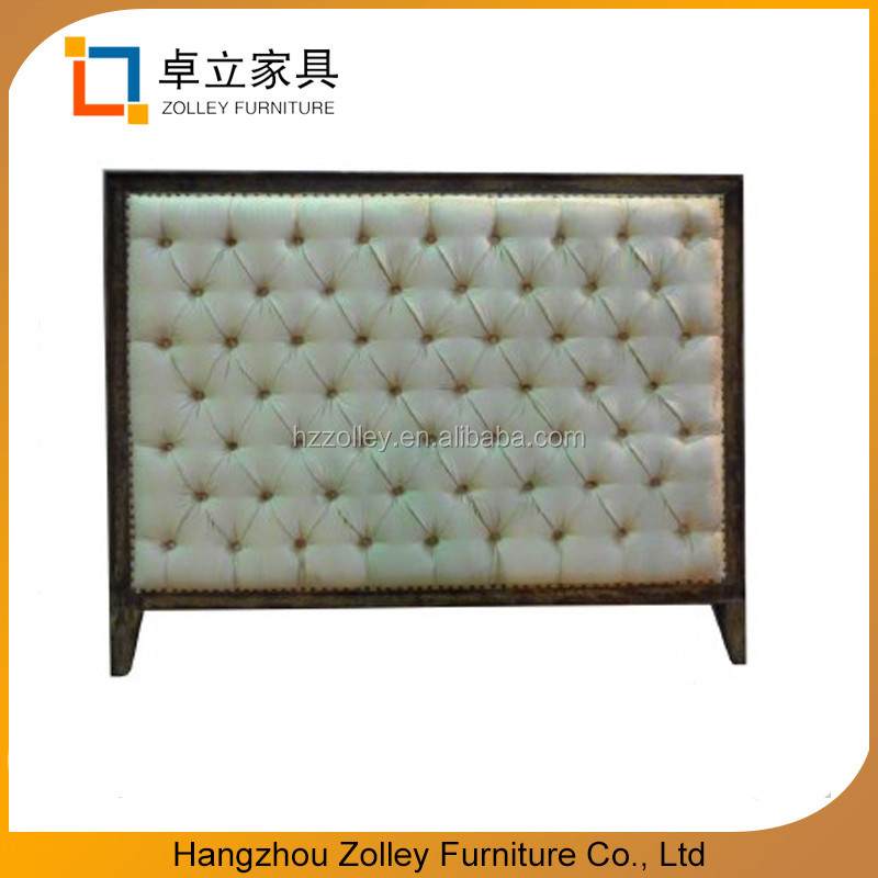 French style wooden carved upholstered headboard for round bed
