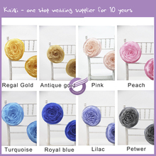 YT10308 wholesale factory artificial rose organza flower, chair back flower