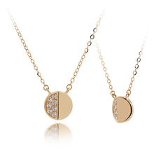 VE0289N Tiny Gold Jewelry 18K Gold with Clear Cubic Zirconia Round Fashion Gold Necklace