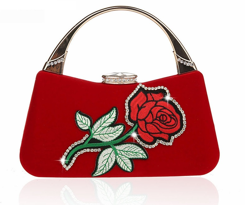 Women Embroidery Rose Flower Clutch Lady Floral Handbag Tote Chain Party Handbag Evening Bag -- 6 colors