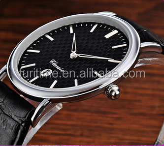 new leather slim watch with carbon fiber dial design for men