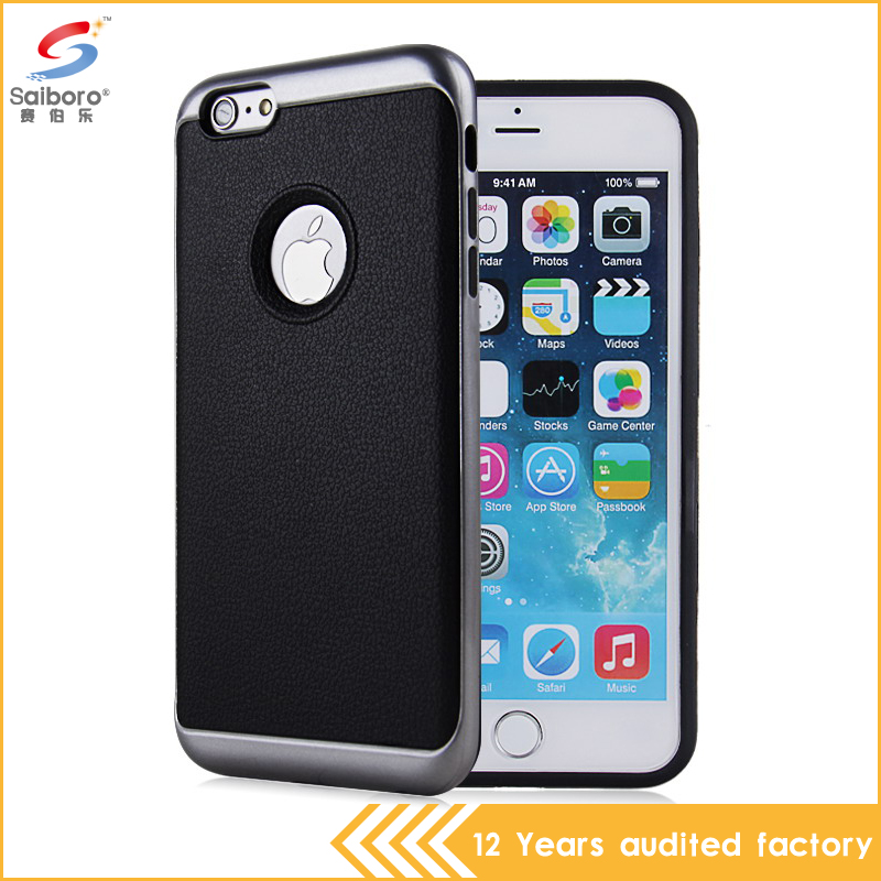 Guangzhou supplier business style black leather phone cover for iPhone 7