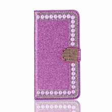 Bling Crystal Rhinestone Leather Case for iPhone 7 , for iPhone 7 Flip Card Pouch Stand Cover