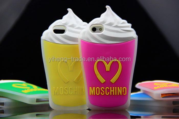 2014 newest fashion cute ice cream phone case For Iphone 4 4S silicon case girls candy case