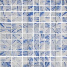 SQ-25141 Hand-Painted Iridescent Blues Glass Mosaic for Swimming Pool Tile
