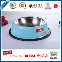 stainless steel single travel dog bowl for wholesale with color logo