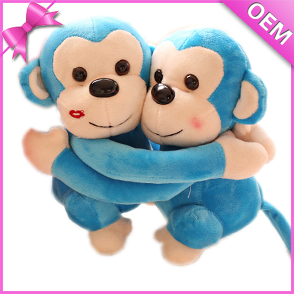25cm Sitting Embracing Stuffed Monkey, Blue Monkey Stuffed Animal, Wholesale Stuffed Monkey Toys
