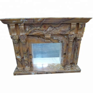 Good price home luxury decor yellow onyx marble fireplace surround