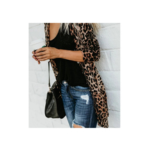 Leopard Long Sleeve Printed Knitted Leopard Print Cardigan Wholesale