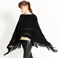 Fashion women solid color ruffle poncho