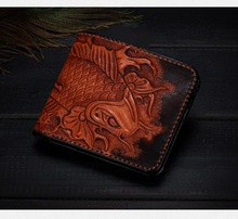 Handmade carving koi short Real leather wallet Fortune fish purse(LD-0439)
