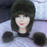 Knitted mink fur Knight Helmet Hat real fur Beanie Hat for girl