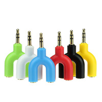Headphone Headset Earphone 3.5mm 2 Way U Shaped Jack Splitter Ideal For Mobile Phone/MP3/Comptuter
