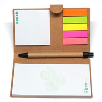 back to school kraft paper cover sticky notes with pen
