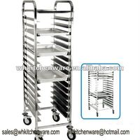 High Level Stainless Steel Bakery Pan Trolley For Hotel Kitchen