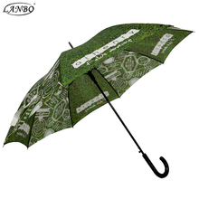dye sublimation picture rain printed automatic 23inch green straight umbrella