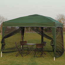Small wind resistant garden gazebo with mosquito netting