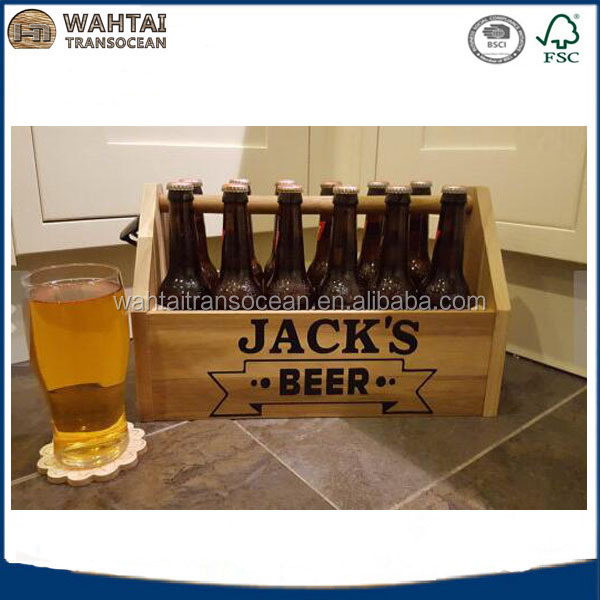 Personalized wooden bottle Beer Crate/ Box for sale