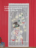 christmas holiday lighted print lace curtain panel snow man