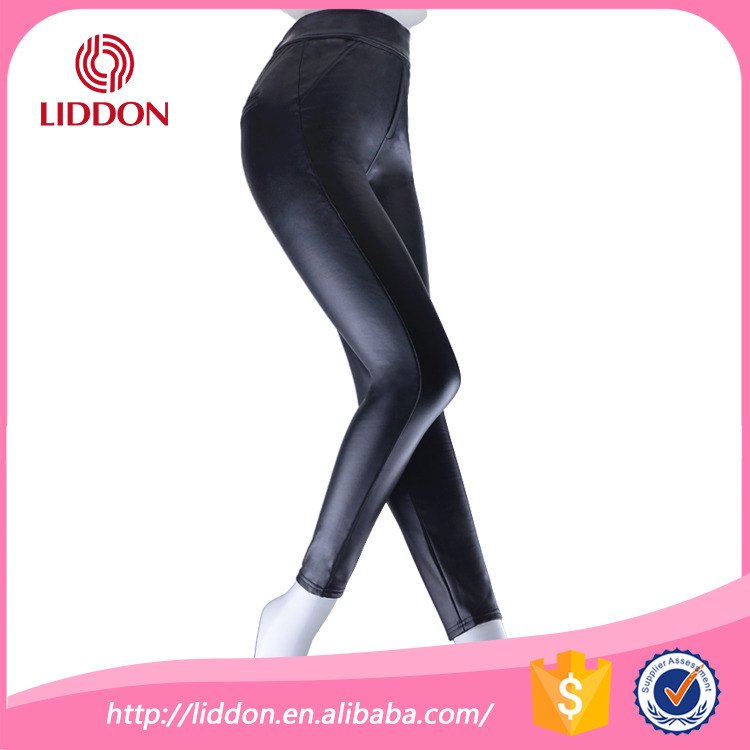 New Style Slender Leather Black Low Waist Sexy Women Leggings