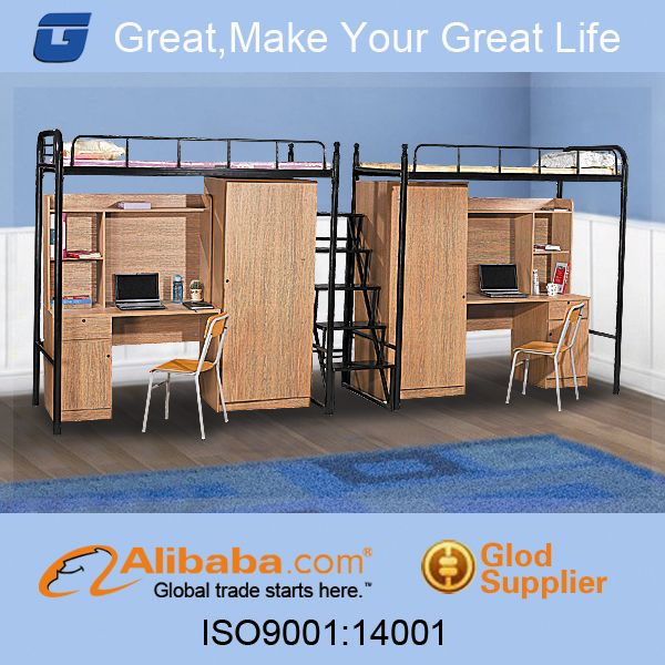 Alibaba china double loft bed with desk