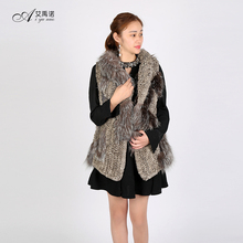 Knitted Real Rex Rabbit And Silver Fox Fur Waistcoats Womens Autumn Winter Brown Gilet For Sale Ladies Long Style Jackets