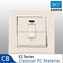 Pure PC Material White Color 20A Water Heater Switch