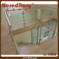 wood handrail laminated glass stainless steel stair railing home decorations