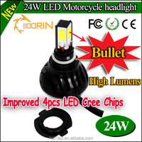motorcycle led headlight with h4 h6 sockets