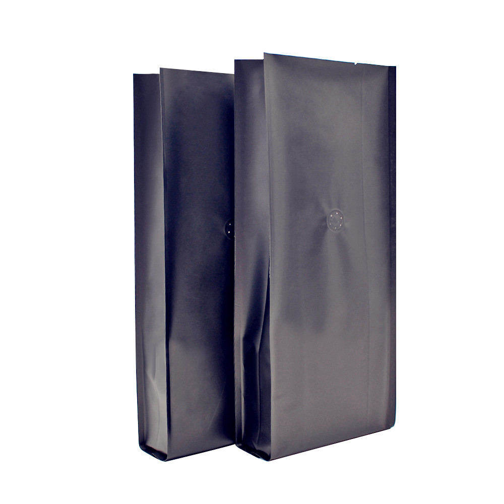 matte finish black aluminum foil bags with side gusset and valve for coffee beans packaging