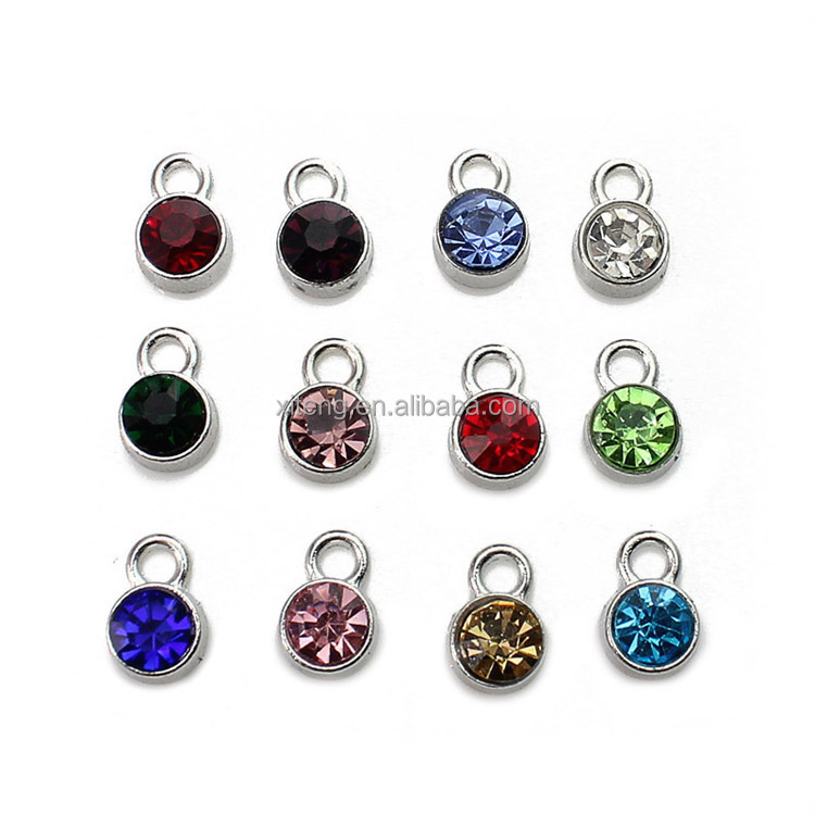 Wholesale Stainless Steel 12 Month Zodiac Metal Birthstone <strong>Charms</strong> for Jewelry Making for Bracelet Necklace