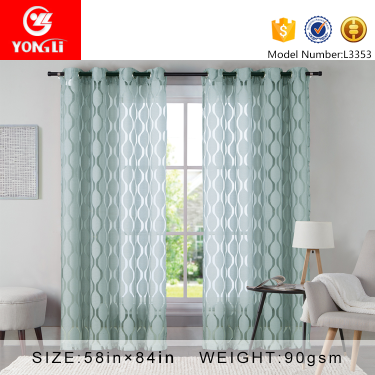Factory sale latest design 100 polyester sheer curtain for living room