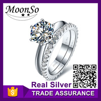 Wholesale high quality MOONSO pure gold wedding and engagement rings pure gold wedding ring meteorite ring KR1912S