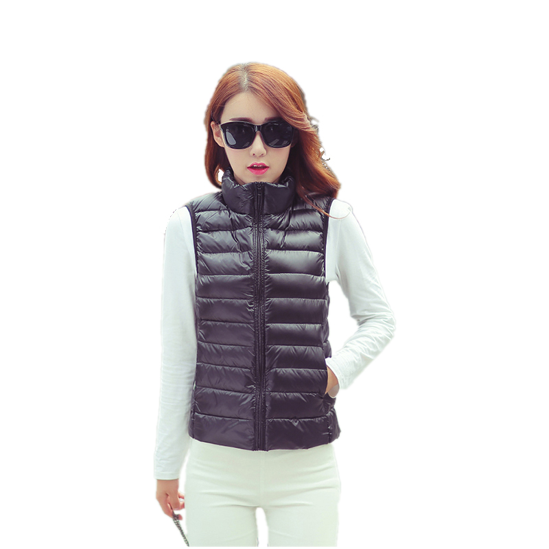 2018 Wholesale Body Shape Ultra Light Weight Molle Plaid Girls' Down Vest Waistcoat for Winter