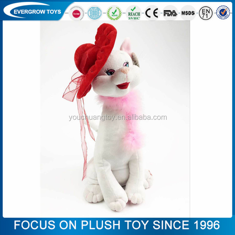 OEM white cat plush toy/Battery operated animated cats