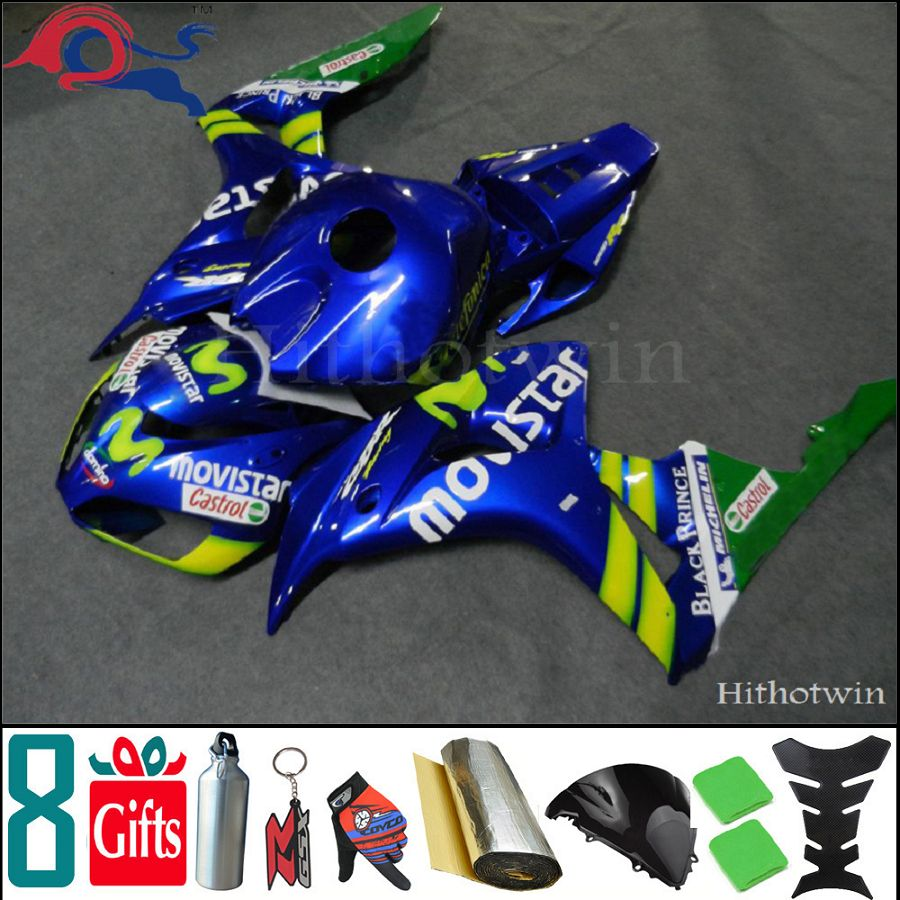 8Gifts+Tank cover+ blue Movistar Injection Mold ABS cover 2006 2007 CBR1000RR motorcycle Fairing for Honda