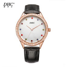 DHC Brand 2017 top Luxury Wrist watches Lover's women watches Diamonds Crystal black Leather men watch Quartz Clock montre femme