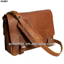 Full grain leather fashion man shoulder messenger bag