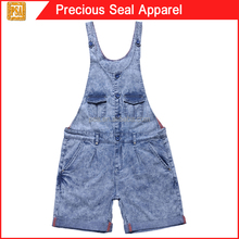 girls royal blue cotton denim acid wash overall shorts with turn up bottom hem (PSA1504-94)
