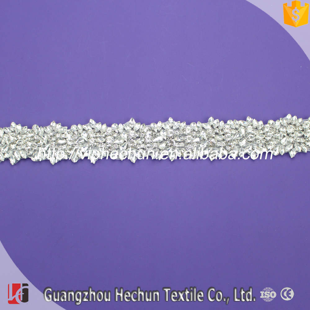 HC-1961Hechun 2017 popular high quality wedding applique rhinestone sash