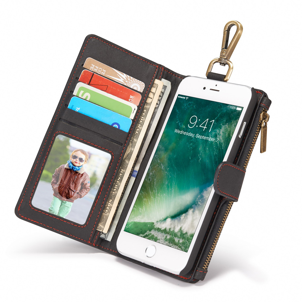 Custom 3-in-1 Business Women/ Man Card Slot Wallet Holster Leather Case Genuine Leather Cell Phone Case