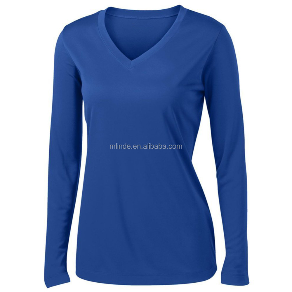 Wholesale Custom Thick Fabric Fashion Women 100% Polyester Lady Long Sleeve Moisture Wicking Athletic T-Shirt Plus Sizes XS-4XL