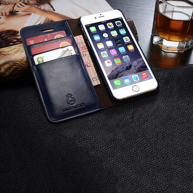 Hot selling Business leather case mobile phone flip cover phone holder with card bags PU phone case for iphone5, 5s, SE ,6 ,6S