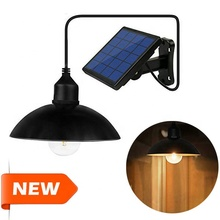 Solar Powered Smart Hanging Tungsten led bulb Pendant Light with Stainless Steel Arc Lampshade