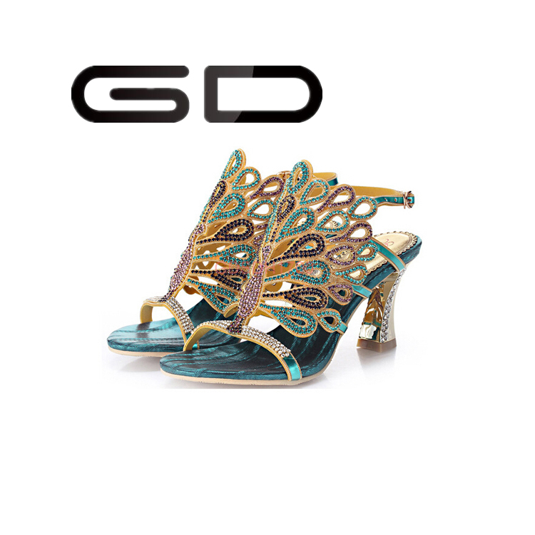 Super quality rhinestone metal ornament women thin heel sandals for party