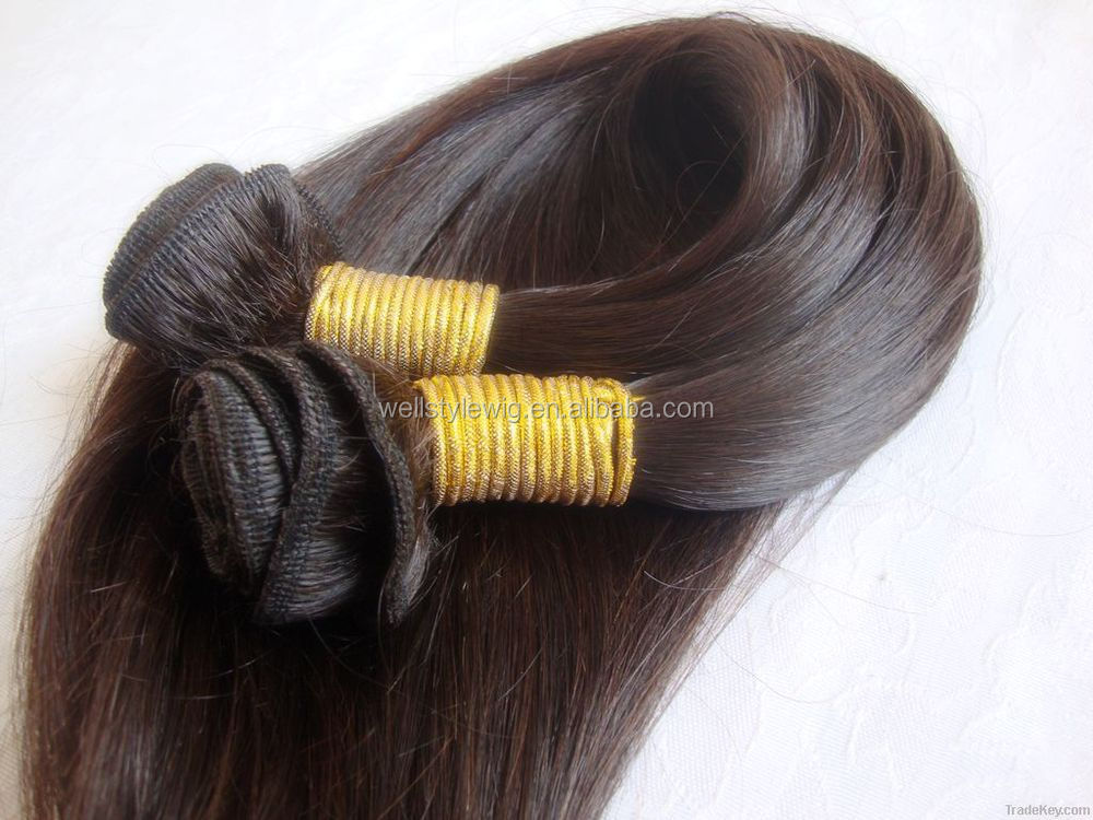 factory price top quality natural color full cuticle virgin remy human hair extension