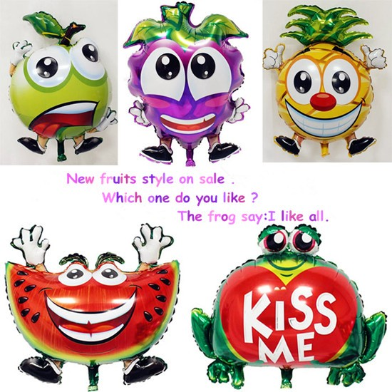 Watermelon/Blueberry/Apple/Pineapple Fruit Foil balloon and kissme frog on Sale