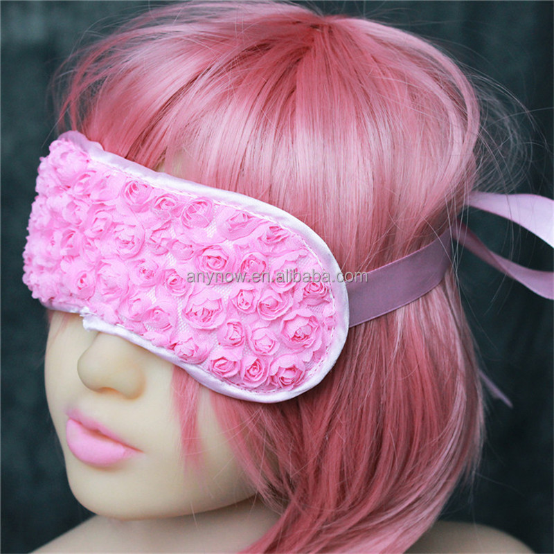 Sex Flirting Satin Rose Eye Blindfold Patch with Ribbon For Couples