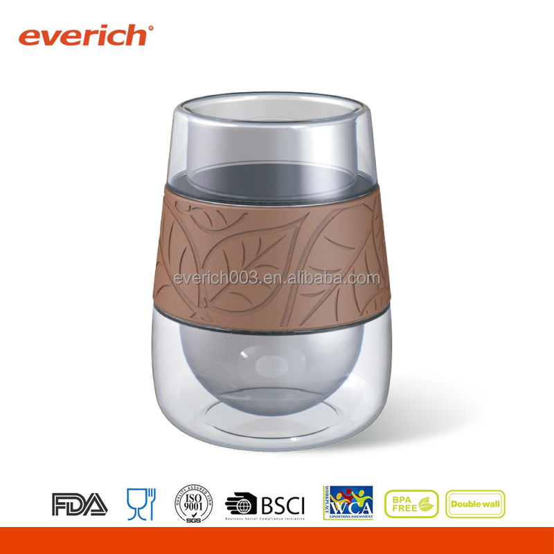 2016 Double Wall Wine Glass Tumbler With Silicone Sleeve