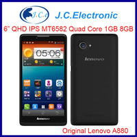 Original 6'' Lenovo A880 Mobile phone MTK6582M Quad Core 1GB RAM 8GB ROM Android 4.2 Phone 5.0MP Camera WCDMA GPS Dual Sim GPS
